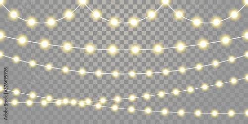 Fotografie, Obraz Christmas lights isolated garland lamps strings set on transparent background