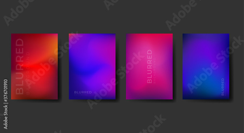 Fototapeta A4 Blurred backgrounds set with modern blurred color gradient. Abstract Blurred Smooth Vector templates collection for brochures, posters, banners, flyers, and cards. obraz na płótnie