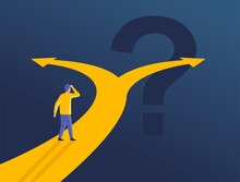 Confused Man At Crossroads Before Important Choice (correct Option Choosing) - Vector Illustration For Making An Important Decision Or Political Voting
