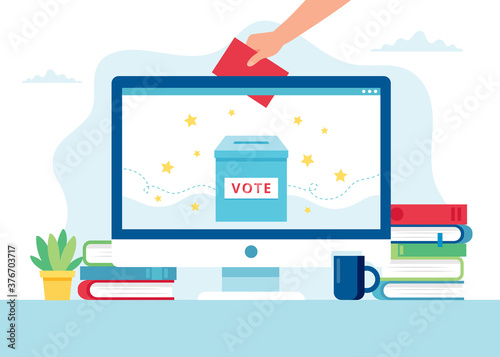 Online voting concept Fotobehang