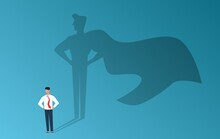 Businessman With Superhero Shadow. Leadership Professional Ambition, Achievement And Business Success, Man With Inner Leader Potential, Career Motivation Vector Flat Cartoon Concept