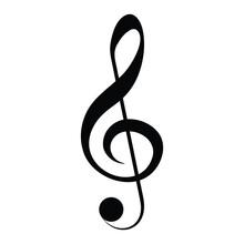 Black Clef Icon, Musical Symbol, Vector Illustration