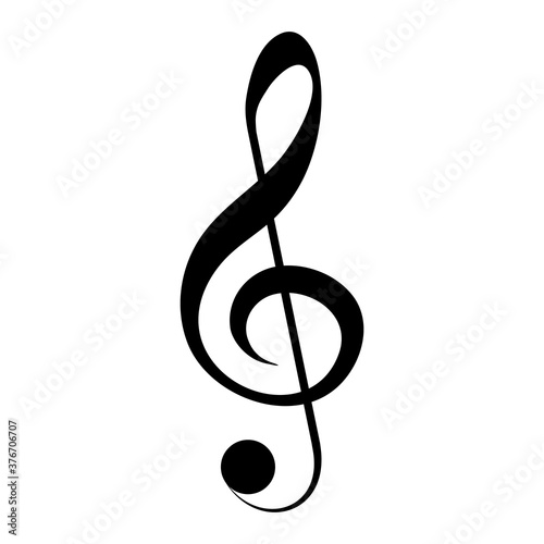 Fotografering Black clef icon, musical symbol, vector illustration