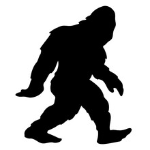 Bigfoot Sasquatch Yeti Silhouette Cartoon Isolated Vector Illustration