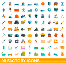 90 Factory Icons Set. Cartoon Illustration Of 90 Factory Icons Vector Set Isolated On White Background