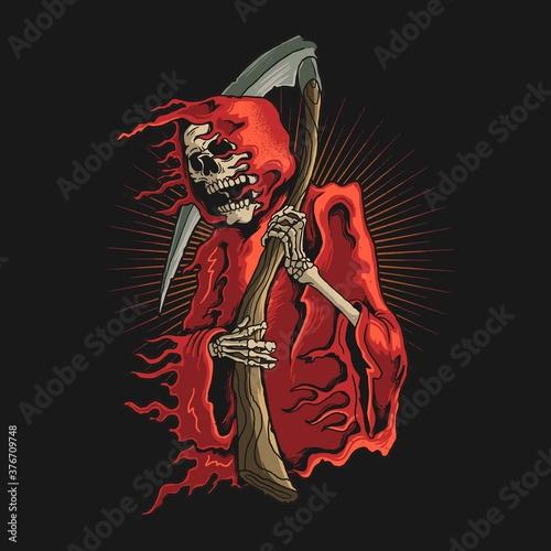 Fotografija grim reaper with scyth illustration vector graphic