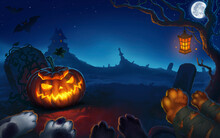 Halloween Pumpkin With Glowing Eyes And Jack Mouth On The Background Of A Cemetery At Night With A Full Moon. Illustration Art Landscape Copy Space. The Paws Of The Zombie Beasts Reach.