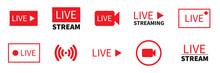 Set Of Live Stream Icon. Vecto...