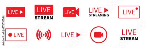 Fotografija Set of live stream icon. Vector live streaming symbol.
