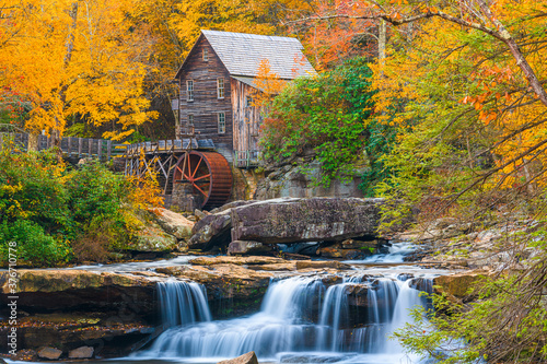 Babcock State Park, West Virginia, USA at Glade Creek Grist Mill Canvas Print