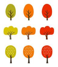 秋の紅葉の木 アイコンセット