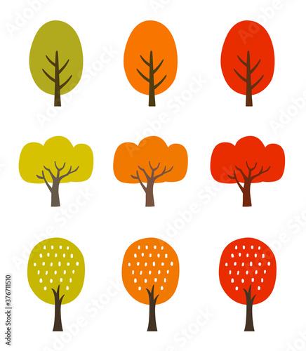 秋の紅葉の木 アイコンセット Canvas Print