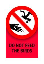 Do Not Feed Seagulls, Modern Forbidding Sticker, Vector Illustration 10eps