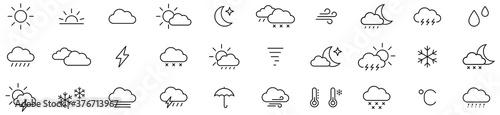 Fotografie, Obraz Weather icon set isolated on white background