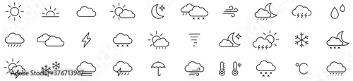 Foto Weather icon set isolated on white background