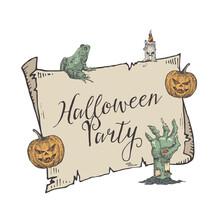 Halloween Party Vector Banner ...
