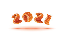 Happy New Year 2021 Text Design. Salmon Style Numbers For Sushi Calendar Background.