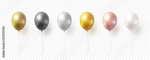 Obraz Balloon set isolated on transparent background. Vector realistic gold, bronze, golden rose, silver, white and black festive 3d helium balloons template for anniversary, birthday party design - fototapety do salonu