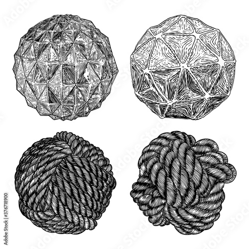 Fotografía Set of decorative balls in hand drawn style