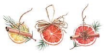 Christmas Decor Of Dried Orange Circles, Cinnamon Sticks And Pine Needles. Hand Painted Watercolor Fir Tree Decorations