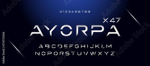 Modern space style typeface, techno effect logo designs Fotobehang