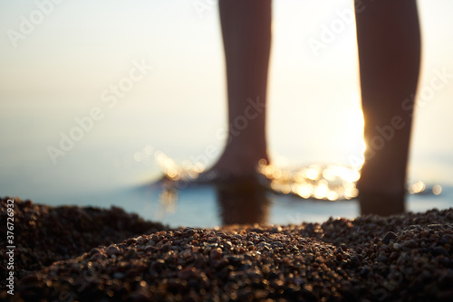 Pebbles on the coast against the background of women's feet in a blur Wallpaper Mural
