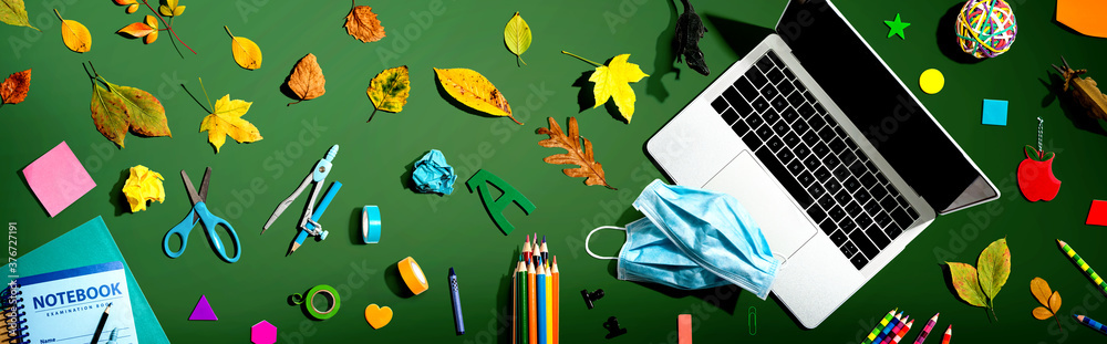 Fototapeta Distance learning with Covid-19 theme - flat lay