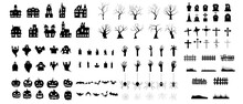 Set Of Silhouettes Of Halloween. The Shadow Collection On Halloween. Set Of Icon For Celebration. Vector Illustration.