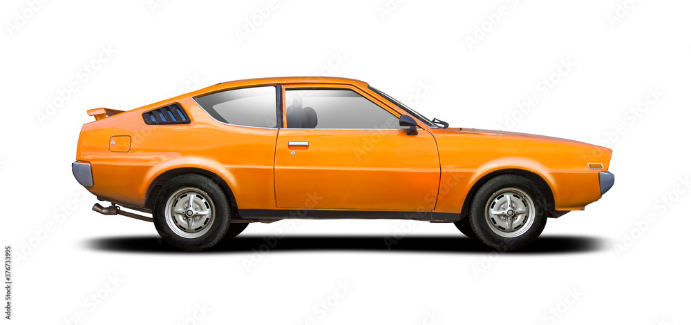 Fototapeta Classic sport Japanese car side view isolated on white background