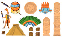 Aztec And Maya Symbols Set. An...