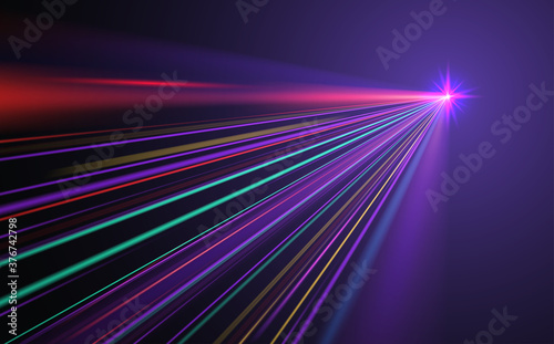 Obraz na plátně Abstract neon light rays background