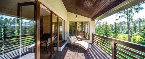 Modern wooden terrace in luxury cottage Fototapeta