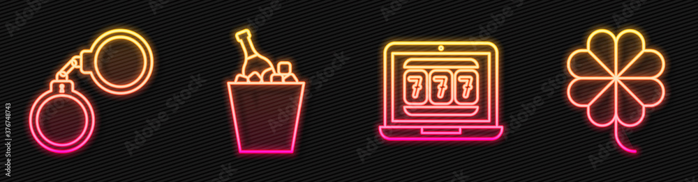 Fototapeta Set line Laptop and slot machine, Handcuffs, Champagne in an ice bucket and Casino slot machine with clover. Glowing neon icon. Vector.