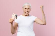 Happy Joyful Elderly Gray-hair...