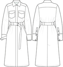 Shirt Dress, Fashion Vector Sketch
