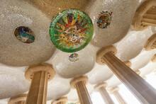 Mosaic Ceiling, Park Guell, Barcelona, Spain