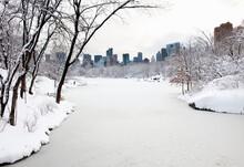 Central Park Lake In Winter, Manhattan, New York City, USA