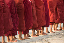 Feet Of Young Buddhist Monks, ...