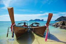 Stationary Boats On Beach, Phi Phi Don, Thailand