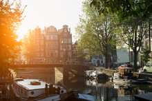 Boats And Canal Bridge, Amster...