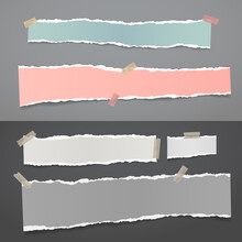 Set Of Torn Of White, Gray And Colorful Note, Notebook Paper Strips And Pieces Stuck With Sticky Tape On Black And Gray Backgrounds. Vector Illustration