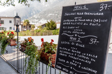 Restaurant Menu On Blackboard,...
