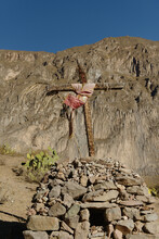 Handmade Wooden Cross On Top Of Stacked Stone Shrine, Colca Canyon, Peru
