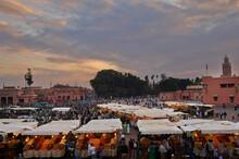 Market At Sunset, Djemaa El Fna Square, Marrakech, Morocco
