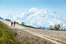 Cyclists, Mt McKinley, Denali National Park, Alaska, USA