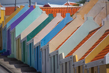 Row Of Multi Colored Painted Houses, Punda, Willemstad, Curacao, Caribbean