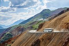 Bus Travelling Downhill, Denali National Park, Alaska, USA