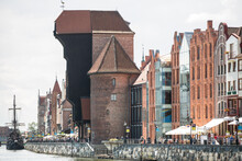 View Of Old Sailing Ship Moored On Warehouse Waterfront, Gdansk, Poland