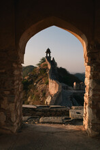 Archway View Of City Wall And Tower, Amer Fort, Jaipur, Rajasthan, India
