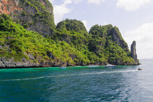 View Of Coast And Rock Formations, Phi Phi Islands, Thailand